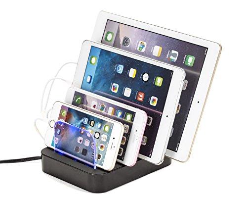 Multi-Geräte-Ladestation: Universal-Multi-Port-USB-Ladestation mit 4 Port-USB-Lade-Anschlüssen, 24 W für USB-ladbare Geräte von WASSERSTEIN
