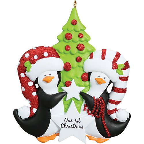 (Personalized Penguins Christmas Tree Ornament 2019 - Cute Black Happy Penguin Couple Decorating Star Our 1st Love First as Family of 2 Year Year - Free Customization)