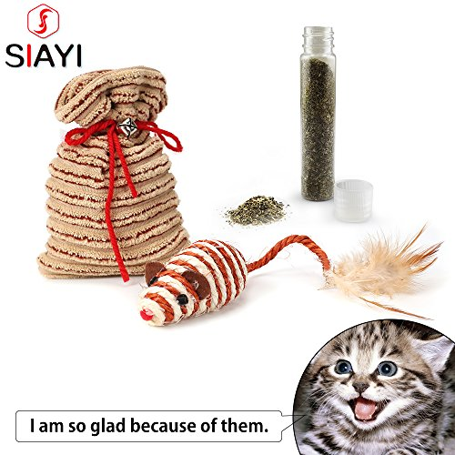 SIAYI Catnip Toys Mouse & Goody Bag Kitten Cat Toys with One Feather Toys for Cats, 2 Pack (M, Yellow)