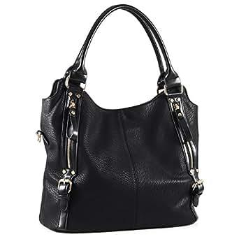 Plambag Women Faux Leather Hobo Handbag Large Tote Purse (Black)