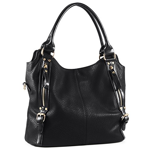 Plambag Women Faux Leather Hobo Handbag Large Tote Purse Black