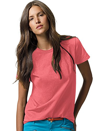 Free Hanes Women's Relaxed Fit Jersey ComfortSoft® Crewneck T-Shirt Charisma Coral 2XL