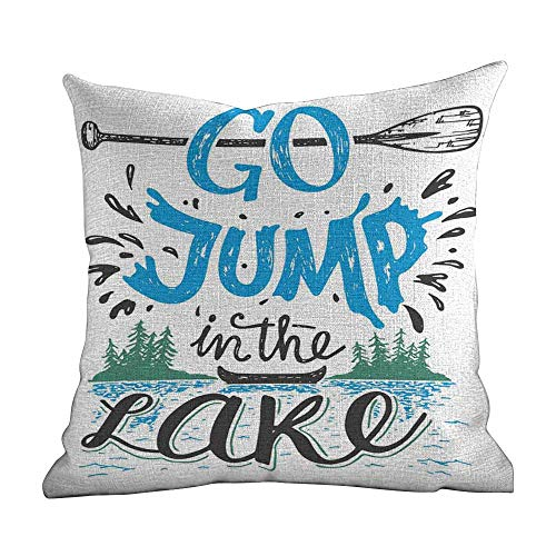 Matt Flowe Decorative Pillow Covers,Cabin Decor,Vintage Typography Inspiration Quote Lake Sign Canoe Fishing Sports Theme,Blue Black Green,Sofa Cushion for Leaning on22 x22