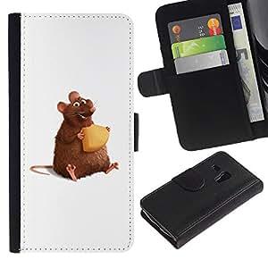 Paccase / Billetera de Cuero Caso del tirón Titular de la tarjeta Carcasa Funda para - Rat Rodent Hamster Art Cartoon Cheese Cute - Samsung Galaxy S3 MINI NOT REGULAR! I8190 I8190N