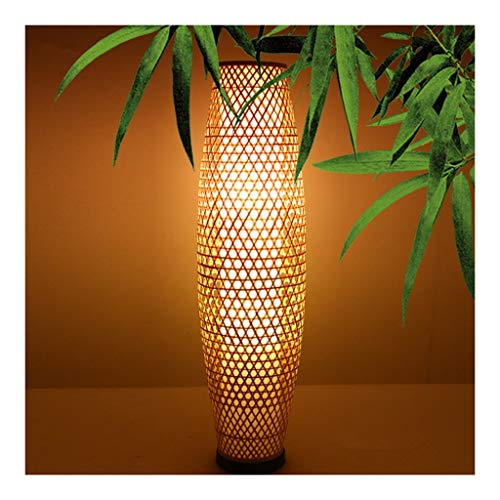 (HN Lighting Bamboo-Woven Bamboo Floor Lamp Lighting, Southeast Asian Style Living Room Study Bedroom E27 Floor Lamp Villa Retro Decoration H 100cm)