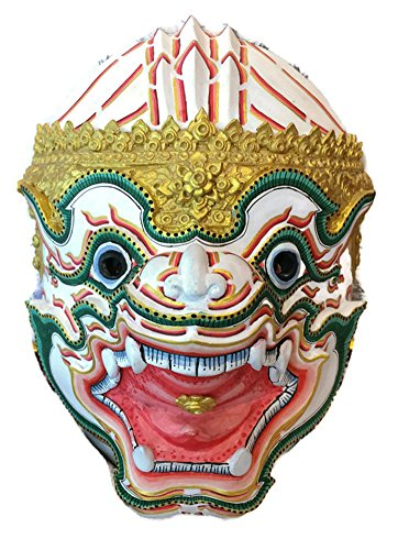 Thai Hanuman Khon Mask For Hanging The Wall Or Decoration (Fiberglass, height 9.5 x width 7.5 x depth 6 inch) by Nammontip