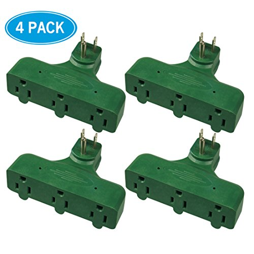HomeHopes Power Socket Outlet Adapter Plug, Flat-shaped(4 PK,Green)