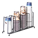 MyLifeUNIT 4 Compartments Wire Rack Coffee Cup Dispenser and Lid Holder, 18-1/2'' Length x 8-1/2'' Height x 5'' Width