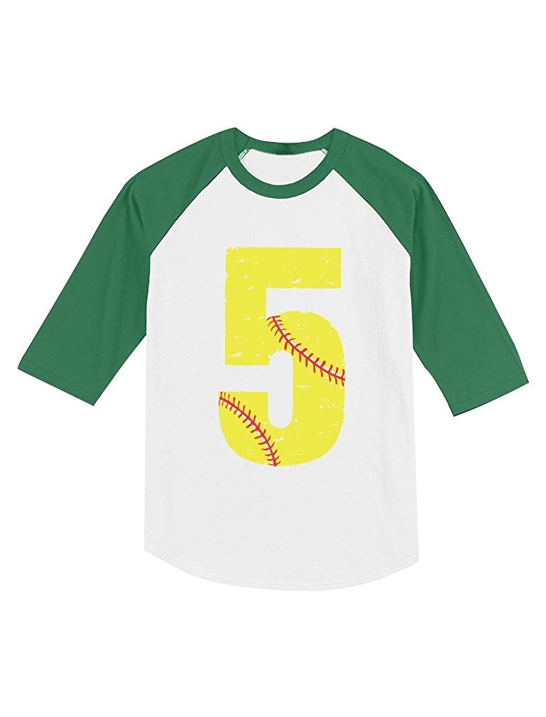 Softball 5th Birthday Gift for 5 Year Old Toddler Raglan 3//4 Sleeve Baseball Tee