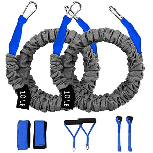 Crossover Workout Resistance Bands, Resistance Cords for Shoulder Exercise Comes with 2 Same Weight Resistance Tubes, Handles - Ankle Straps - Door Anchor - Carry Bag (Blue-10lbs)