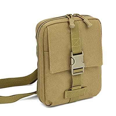 Jlyifan Khaki Amy Men Nylon Tactical Tablet Cellphone USB Cable Accessory Kit Pouch Outdoor Hiking Organizer Storage Bag for iPad Mini 4 / Samsung Galaxy Tab A / E 8.0