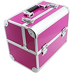 "SRA Cases EN-AC-FC-B082-PK Make-Up, Cosmetic, Vanity Case with Fold Out Trays, 12.2 x 10.6 x 8.3"", Pink"