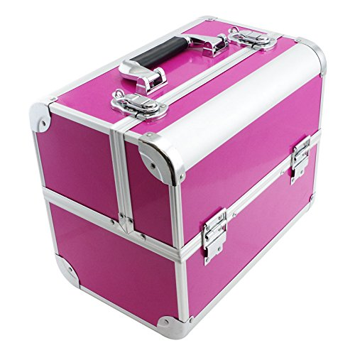 - SRA Cases EN-AC-FC-B082-PK Make-Up, Cosmetic, Vanity Case with Fold Out Trays, 12.2 x 10.6 x 8.3