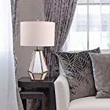 Catalina 20416-001 Maxine 28-inch Faceted Antique Mirror Table Lamp with Natural Linen Drum Shade, Bulb Included
