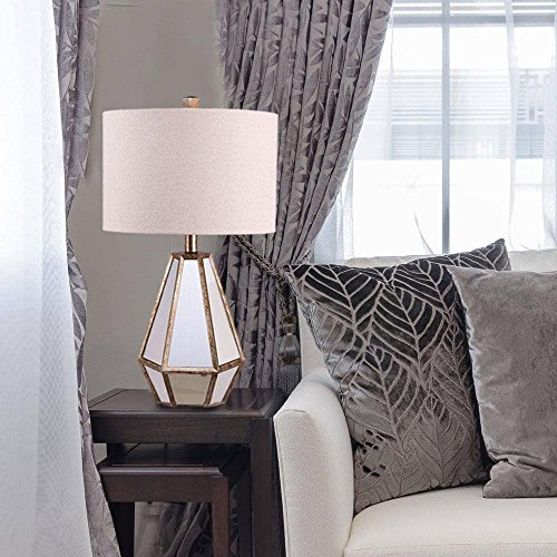 Catalina 20416-001 Maxine 28-inch Faceted Antique Mirror Table Lamp with Natural Linen Drum Shade, Bulb Included - Antique Drum Table