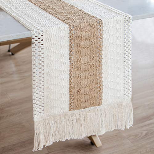 OurWarm Macrame Table Runner Farmhouse Style, Natural Burlap Boho Table Runner Modern Farmhouse Decor Rustic Woven Cotton Crochet Lace for Bohemian, Rustic, Wedding, Bridal Shower, Dinner