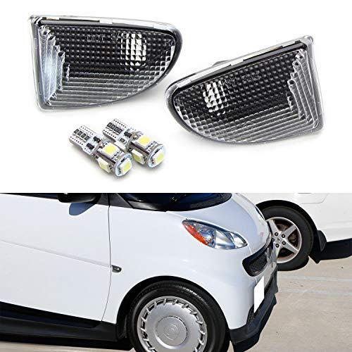 iJDMTOY Euro Clear Lens White LED Bulb Front Side Marker Light Kit For 2007-15 Smart Car Fortwo, Replace OEM Sidemarker Lamps