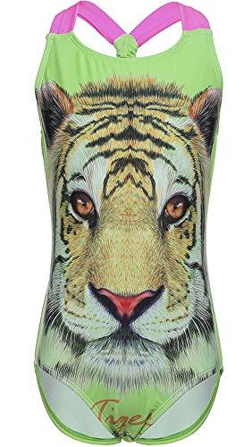 DUSISHIDAN Girls' Green Tiger Animal Print Beach Sport 1-Piece Swimsuit - Green Tiger Print