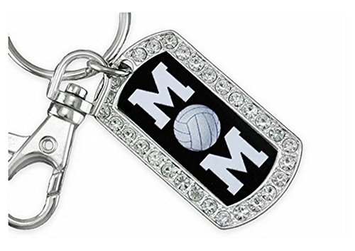 ''Volleyball Mom'' Genuine Crystal And Silver Tone Dog Tag Key Chain by Lonestar Jewelry