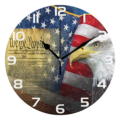 ALAZA Patriotic American Flag with Eagle Round Acrylic Wall Clock, Silent Non Ticking Oil Painting Home Office School Decorative Clock Art