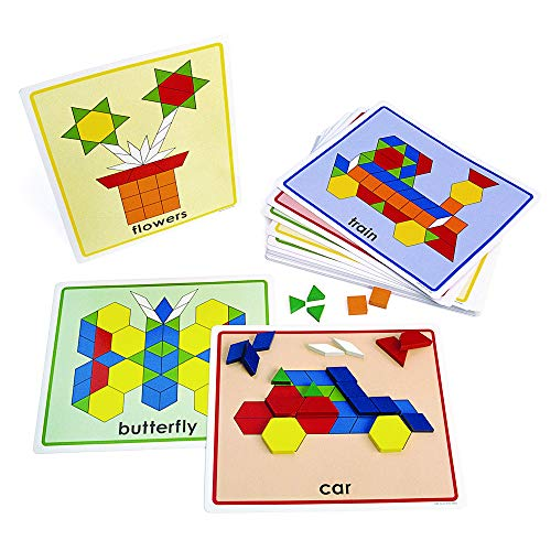 Excellerations Pattern Block Picture Cards Set of 20 for Kids Classroom Supplies