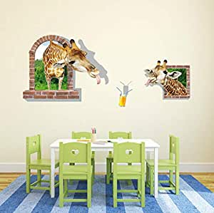 DIY Removable Wall Stickers For Living Room Home Decor - 3D Giraffe