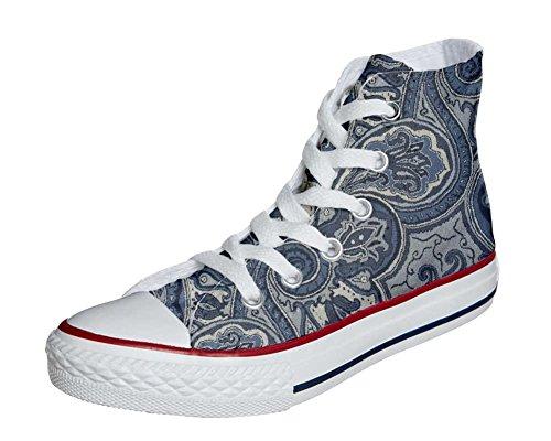 Converse All Star Hi chaussures Personnalisé et imprimés UNISEX (produit artisanal) Blue Paisley size 46 EU