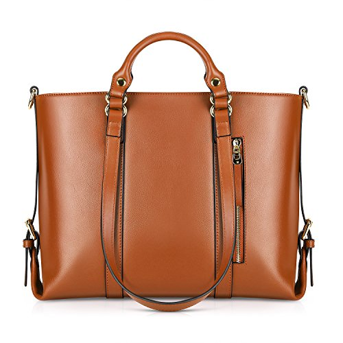 -Way Women's Genuine Leather Shoulder Tote Bag, Orange ()