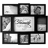 Malden International Designs The Love of a Family 8 Opening Dimensional Collage Black Picture Frame, 6-4 by 6-Inch