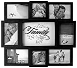Malden International Designs The Love of a Family Dimensional Collage Black Picture Frame, 8 Option, 6-4x6 & 2-4x4, Black (Kitchen)