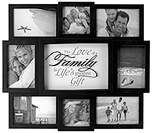 Malden International Designs The Love of a Family Dimensional Collage Black Picture Frame, 8 Option, 6-4x6 & 2-4x4, Black