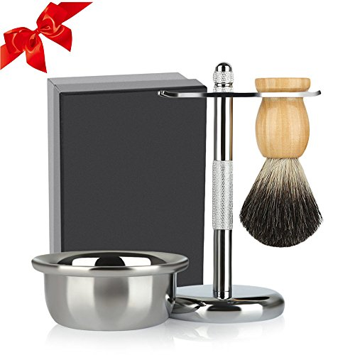 Shaving set, 3-in-1 Men's Wet Shaving Kit with Badger Hair Shaving Brush, Safety Razor Stand, Shaving Soap Bowl by SKM