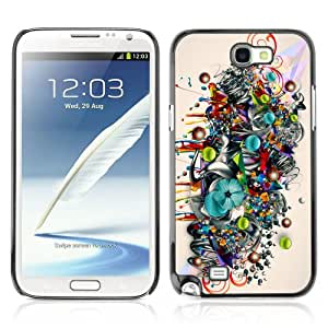 Designer Depo Hard Protection Case for Samsung Galaxy Note 2 N7100 / Colorful Art Pattern