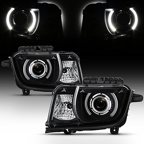 For Black 2010 2011 2012 2013 Chevy Camaro Driver & Passenger Both Side Projector Headlights Headlamps