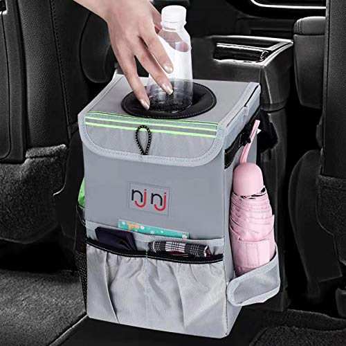 NJNJ Car Trash Can Garbage Bin, Waterproof 13.5 x 10 x 8 Backseat Trash Receptacle Storage Container for Car - Big XL Leak Proof Odor Lock Foldable Hanging Box Organizer with Pockets