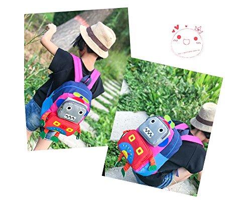 Huateng Kleiner Kleinkind-Kinderrucksack, nette Roboter-Baby-Schultasche Oxford-Stoff-Schüler-Schultaschen für 1-3 Jahre alt Rosa