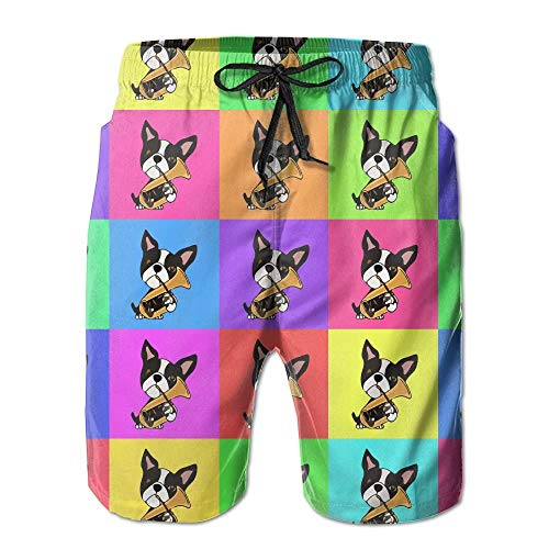 (Funny Boston Terrier Playing Tuba Men's Summer Casual Shorts)
