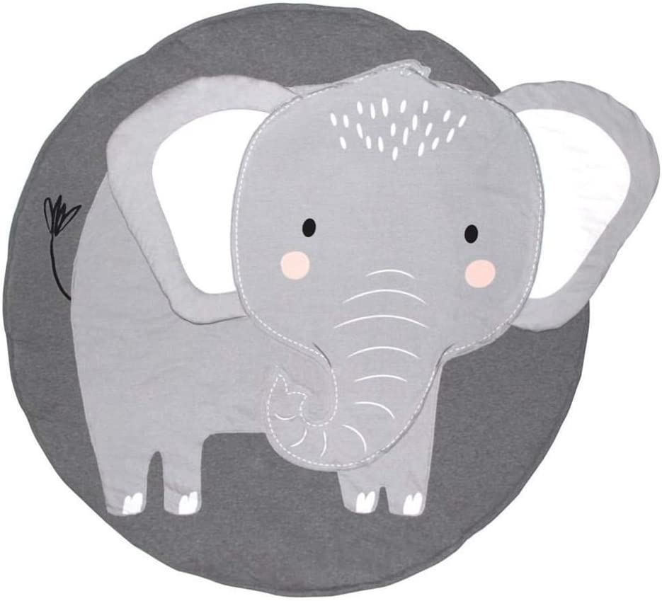 Abreeze Baby Round Play Pad Crawling Mat Crawl Cushion for Kids Children Toddlers Bedroom Elephant