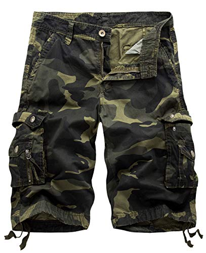 Camo Military Shorts - IDEALSANXUN Men's Casual Loose Fit Multi-Pockets Military Cargo Shorts (Camo Dark Army, 32)
