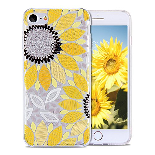 iPhone 8 Case for Girls, iPhone 7 Case, FGA Cute Yellow Sunflower Floral Patterns Clear Transparent Scratch-proof Ultra Slim-fit Thin Soft TPU Skin Cover for iPhone 8 (2017), iPhone 7 (2016)