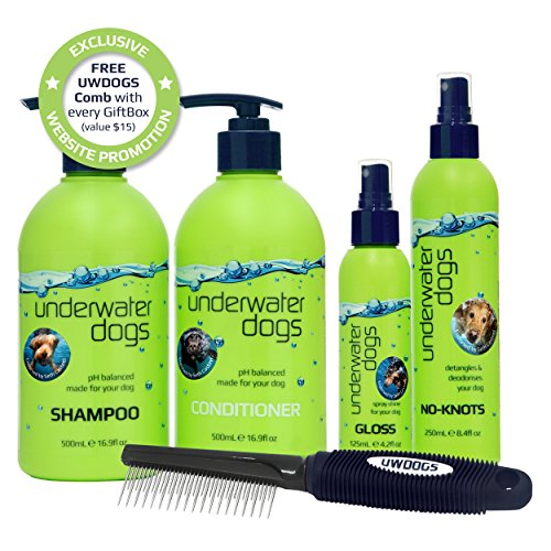 Underwater Dogs Grooming Gift Set - Gift Box of Shampoo, Conditioner, Detangler, Gloss & Dematting Comb - Designed for Dirty Dogs with Sensitive Skin
