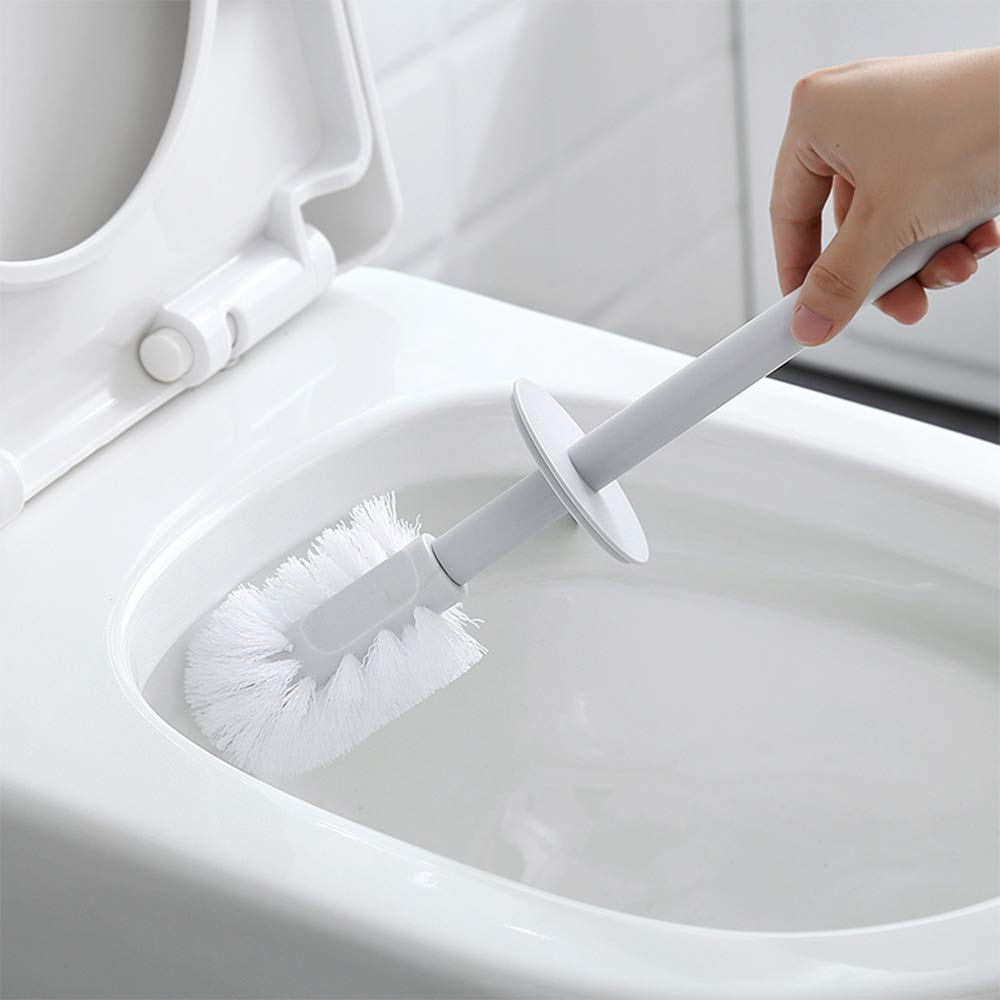 Cosytime Toilet Brush and Holder Set,White Compact Polder Toilet Brush Cleaner,Reusable Eco-Friendly Plastic Slim Toilet Brush Organizer,Contemporary Portable Decorative Toilet Brush for Bathroom