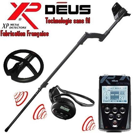 XP Metal Detectors - Detector de metales Deus Full 1- tecnología inalámbrica - Mando a distancia - Casco WS4 - Disco DD 22 cm con protege disco - Caña ...