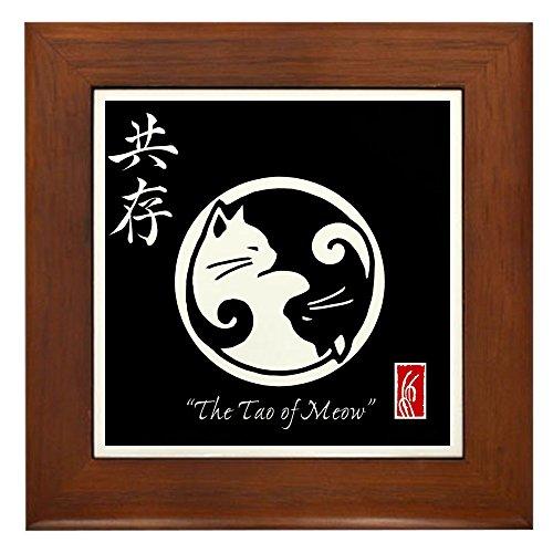 CafePress - Tao Of Meow: Ying Yang Cats Framed Tile/Trivet - Framed Tile, Decorative Tile Wall ()