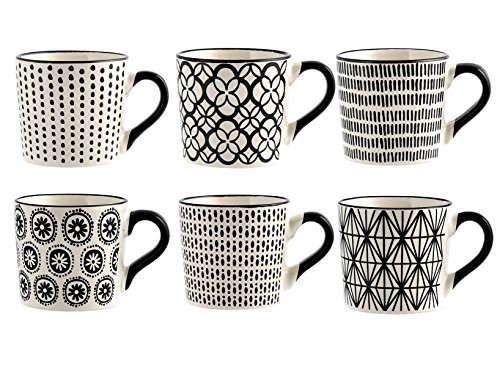 H&H H & H vhera Juego 6Tazas Te, Stoneware, Blanco/Negro, 220ml