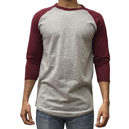 (KANGORA Men's Plain Raglan Baseball Tee T-Shirt Unisex 3/4 Sleeve Casual Athletic Performance Jersey Shirt (24+ Colors) (Gray Burgundy,)