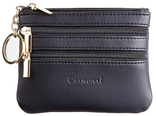 (Casmonal Womens Genuine Leather Coin Change Purse Pouch Slim Minimalist Front Pocket Wallet Key Ring)