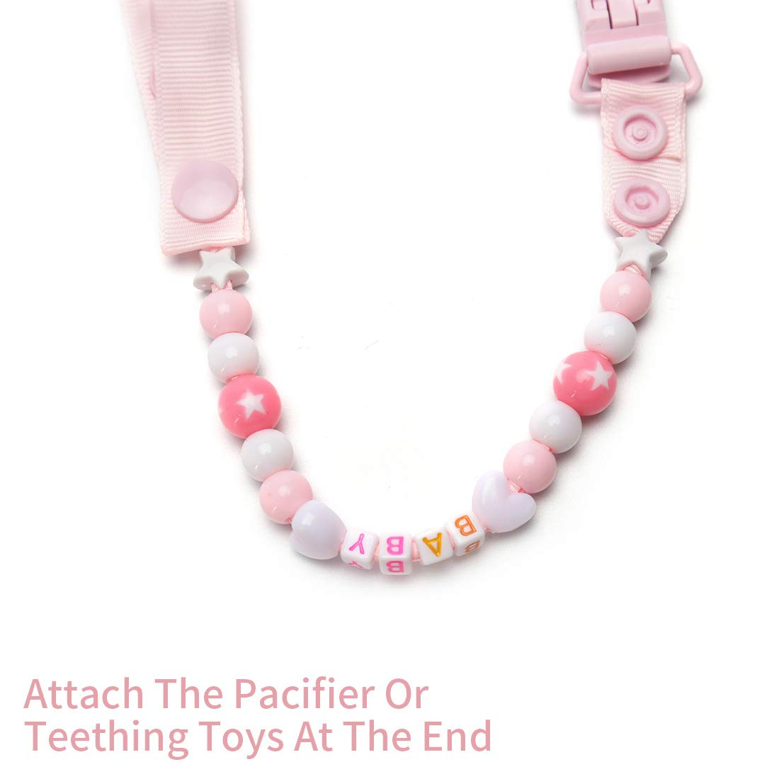 Set of 5 Pacifier Clip Baby Boy Girl Hand Made Dummy Pacifier Holder Clip Chain Soother Chain with BPA-Free Beads for Babies Favorites Pacifier Strap Teether