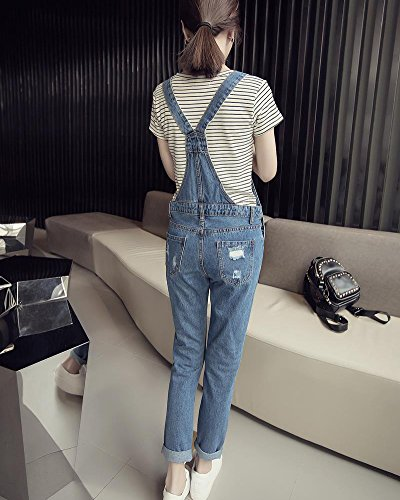 Jeans Femme Casual Ripped Grande Pantalon Crayon Taille Salopette Boutonne Salopette Sarouel 9055 vOHCxqv