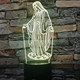3D Night Light Virgin Mary 3D Lamp Lady Optical